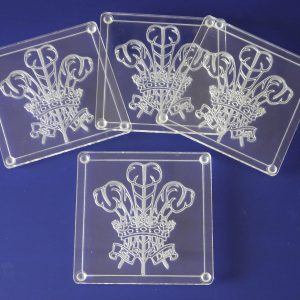 Welsh Feathers Coasters Set Of 4 Clear-0